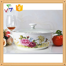 ceramic cookware pot with glass lid & metal stand
