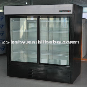Glass door vertical showcase refrigerator for supermarket