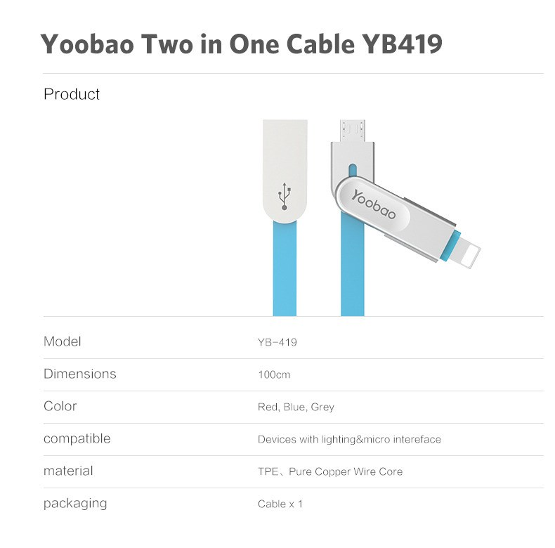 2016 NEW mobile phone accessories Yoobao micro 2 in one cables