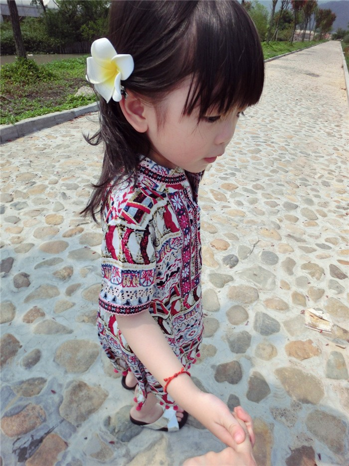 Summer kids clothing baby girl short sleeve Bohemia floral dress embroidery tassels dresses girls vacation skirt