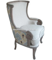 Wing back European style soft seat wooden arm chair