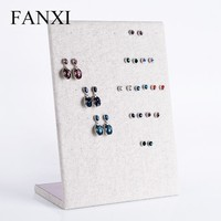 FANXI Wholesale Cardboard Linen Jewelry Stand Shelf Rack Hanging Earring Display Holder