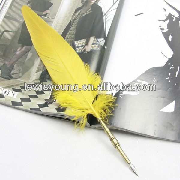 yellow real eagle feathers fountain dip pen with metal pen barrel holder