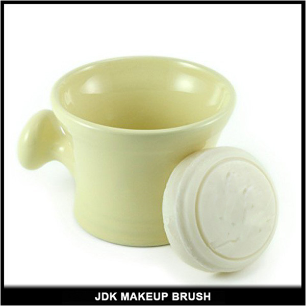 Custom Logo Ivory Ceramics Shaving Soap Bowl With Handle