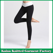 Fashion black custom plain style sports yoga pants womens