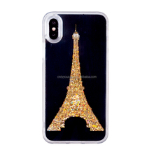 2017 liquid mobile phone case cover with LED light tower design r for iphone 6 6s 6plus 7 7plus 8 8plus X