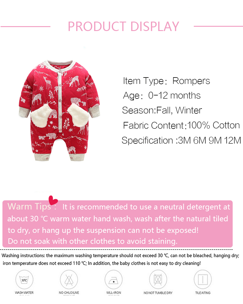 New Style Winter Cotton Baby Clothes Warm Long Sleeve Baby Clothing