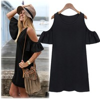 Fashion Knit Tops New Casual Women Off-Shoulder Long Blouse Sexy Round-Neck Tops T-Shirt