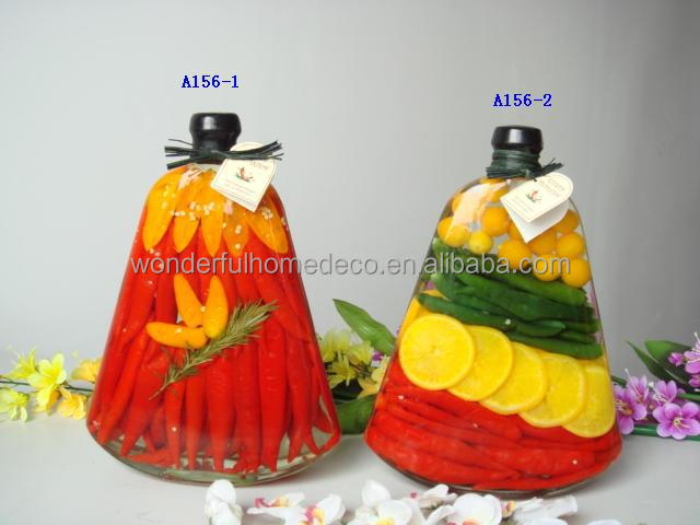 Popular kitchen decoration glass bottles peppers