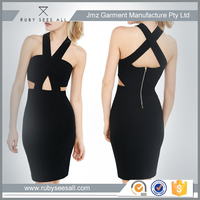 ribbed crisscross sexy bodycon/bandage midi cut-out dress