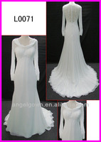 2014 muslim style long sleeves lace chiffon column bridal gowns/wedding dress guangzhou real sample L0071