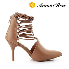 good quality ladies women leather gladiator high heel shoes