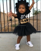 Wholesale Black famous <strong>Girl's</strong> <strong>dresses</strong> summer short sleeve kids tutu hoodies <strong>dress</strong>