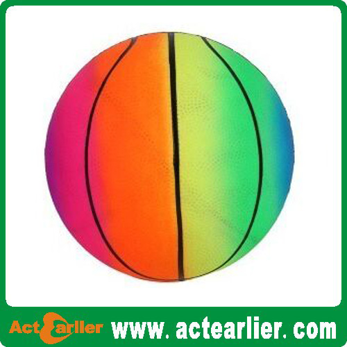 2016 high quality inflatable pvc rainbow basketball for kids