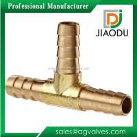 Yellow brass color forged brass three way tee air gas t union fitting connector with hose barb manufacturers