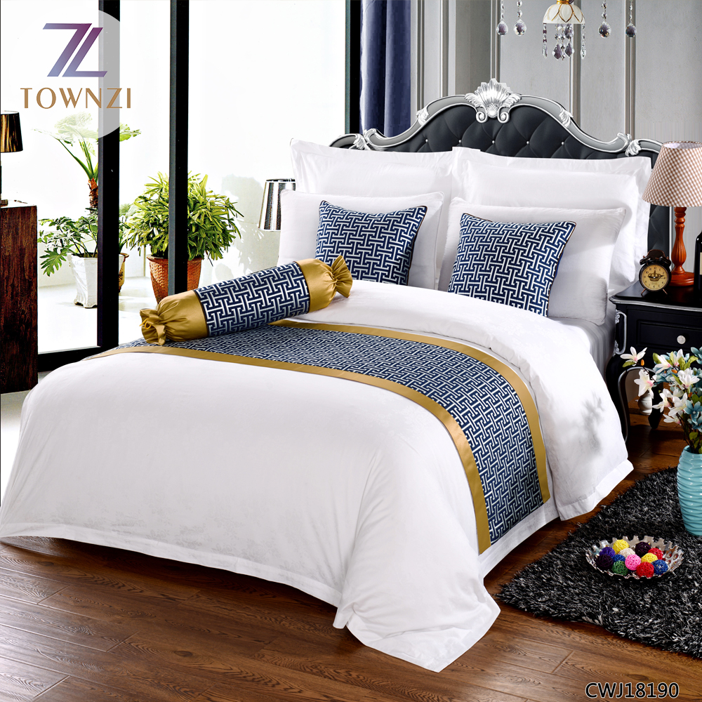 En gros de haute qualit ensemble de literie avec lit de luxe drapeau logo impression chine for Linge de lit pour hotel de luxe