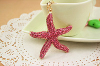 2014 new design keyring starfish custom metal keychain YS251-01