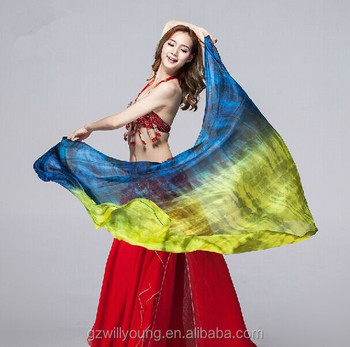 Newest Tie-dyed Belly Dance Silk Veils, Natural & Real Silk Veils, Tie-dyed Silk Fan Veils, Different Sizes Available