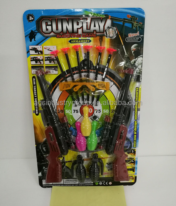 Novelty design toy gun play shooting game with dart bowling balls and target