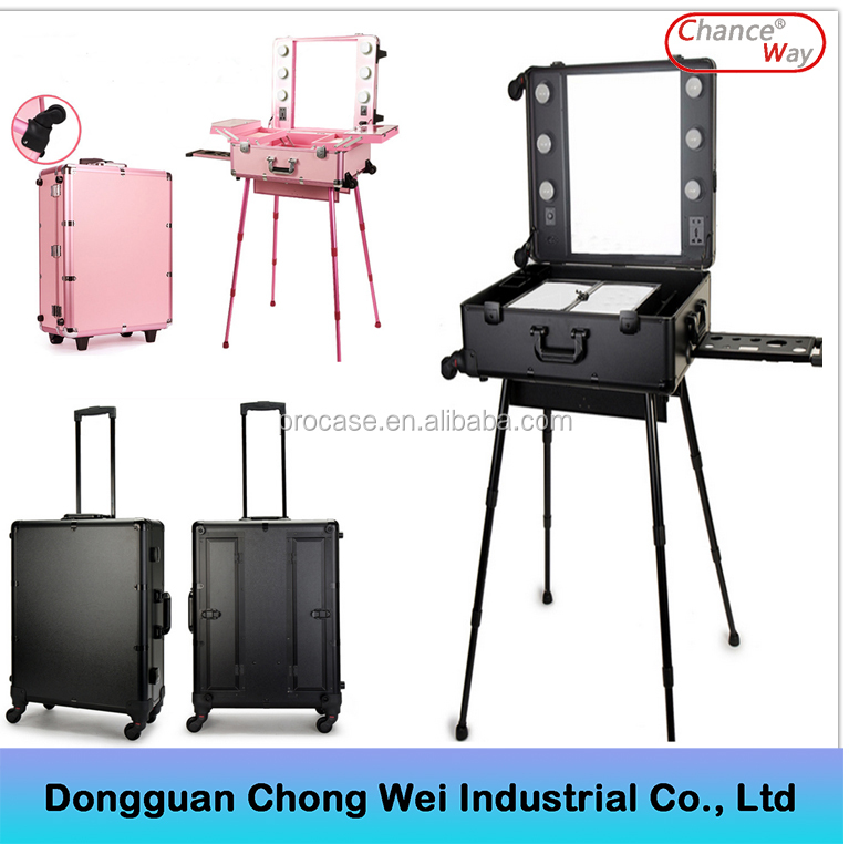 Professional portable cosmetic lighting makeup case with stand