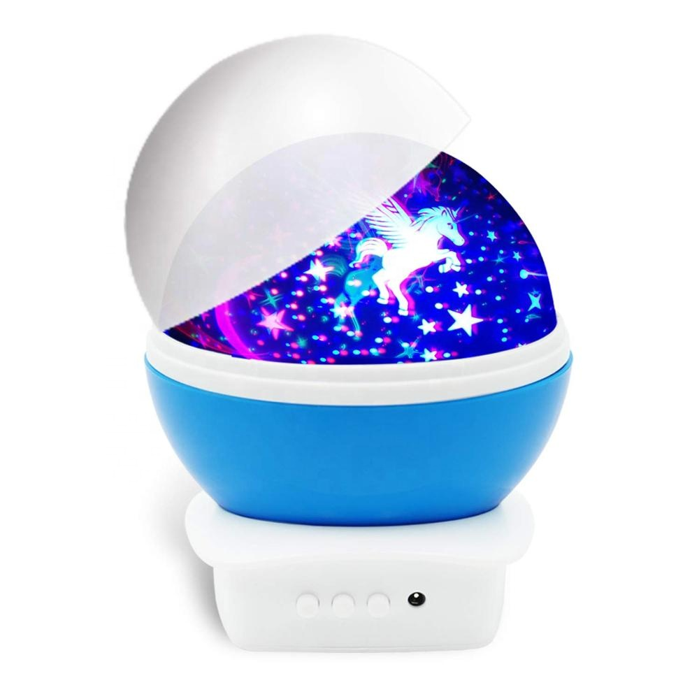 Unicorn Night Light Projector, 360 Degree Rotating Color Changing