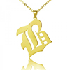 Solid 18k Gold Plated Old English Style Single Initial Name Personalised Necklace