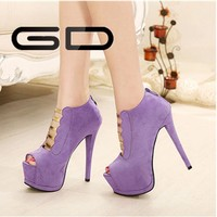 Women purple shoes high heels with platform