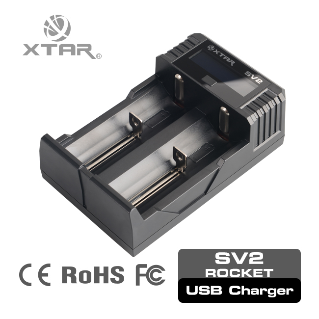 XTAR charger 26650 li-ion battery charger high quality universal travel adapter with usb electric battery charger sv2