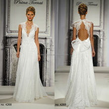 Charming Pnina Tornai 2014 A-Line Wedding Dress With Keyhole Back Deep V-Neck Cap Sleeve Long Lace Bridal Gown NB0664