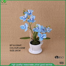 High quality low price artificial blue orchid flower with lovely coffee cup for home interior decor