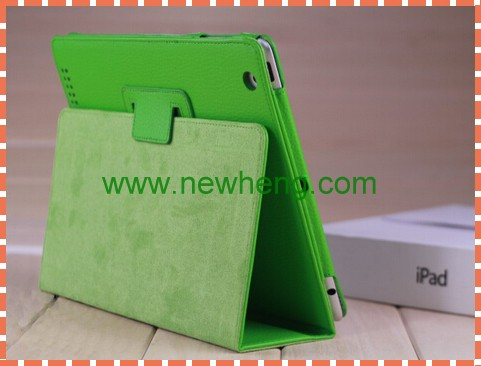 Wholesale Litchi Grain PU wallet Leather Case with stand holder for iPad Mini