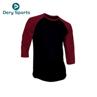 Two color Dry fit mens long sleeve 3 4 length shirts 3 4 sleeve t shirt