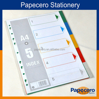 Colorful PP A4 Folder Tab Dividers/Custom Print Index Cards