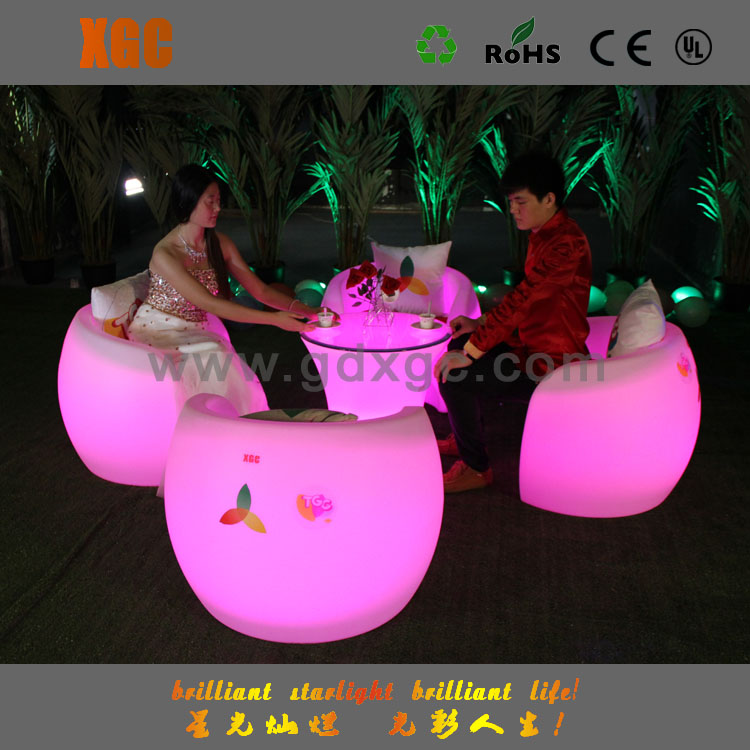 Colorful led lighted outdoor stone top wrought iron dining table for sales
