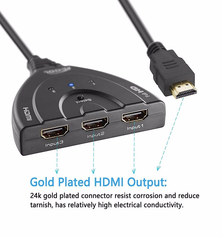 HDMI Switch 3 Port Hub with Pigtail Cable Supports 3D, 1080P, HD Audio