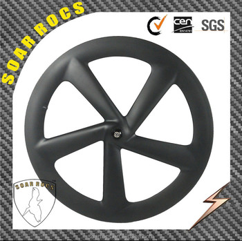 Chines carbon 700C high stiffness carbon 65mm clincher 5 spokes bike wheel road bike hub front 5 spokes wheelset