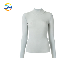 Wholesale high quality rayon long sleeve turtle collar knit fitted women tops blouse