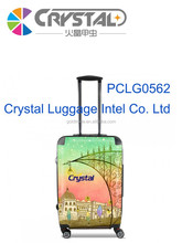100% Pure PC front shell and ABS rear shell Luggage with Customization Design 4- Wheels 16,18,19,20,24,28 Travel Trolley Luggage