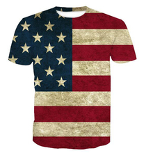 Summer fashion new <strong>design</strong> cotton and polyester blend ment shirt , American flag sublimation t shirt