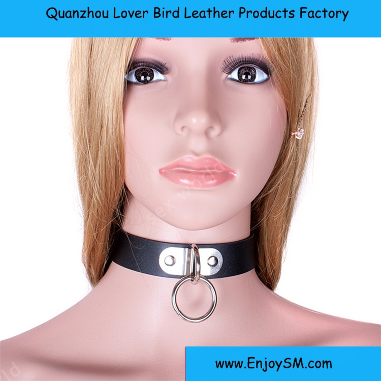 2016 Classic Sexy Black PU Leather Neck Collar Necklace Erotic Chastity Fetish Choker Bondage Sex Toys For Adult Games