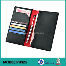 Factory price rfid blocking leather money clip wallet case and passport holder