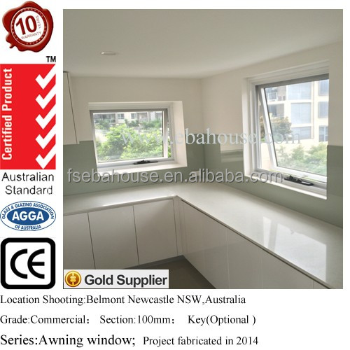 aluminium window AS2047 double glazed windows awning window AS2208/AS1288 with DORIC chainwinder