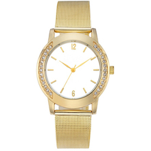 Custom ladies gold tone mesh band watch