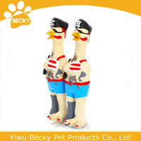 Funny Pirate chicken pet toys dog training chew plastic squeaky dog toys