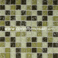 Fresh Olive Green Crackle Mosaic Glass Tile