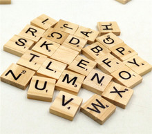 Burlywood Color Wooden Alphabet Scrabble Tiles Black Letters & Numbers For Crafts Wood