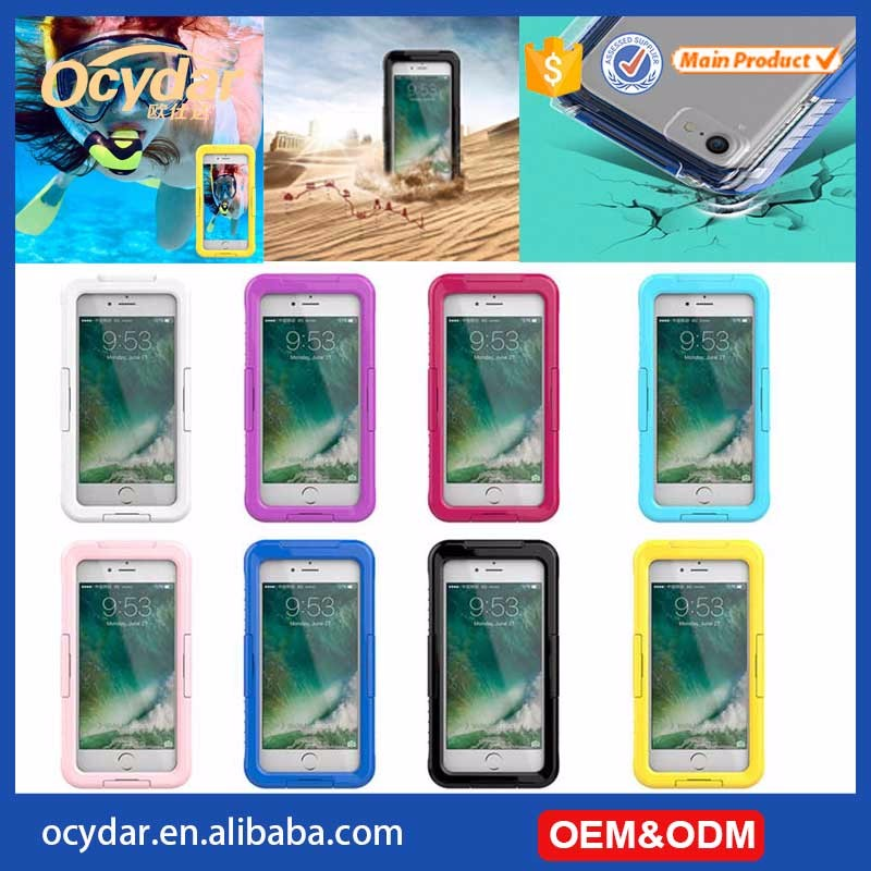 Hot fashion summer waterproof silicone case for iPhone 7, for iPhone 6 transparent swim travel waterproof cover
