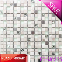 Light grey stone mixed stainless steel mosaic decorative tile