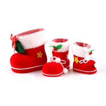 Christmas Decoration Supplies Red Flocking Candy Boots Best Festival Gifts for Kids Novelty Xmas Stockings YA