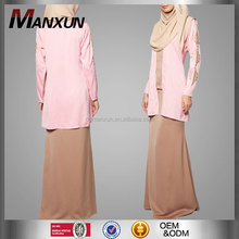 Muslim women dress beautiful apparel abaya top and skirt long sleeve elegant abaya for malaysia